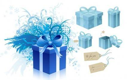 free vector Blue gift box theme vector