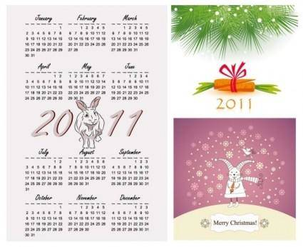 free vector 2011 year of the rabbit vector illustration calendar