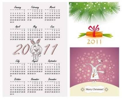 free vector 2011 year of the rabbit vector illustration calendar