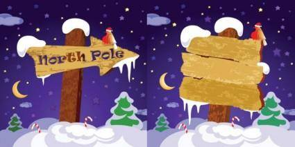 free vector Cute wooden sign vector on snow