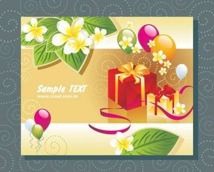 free vector Balloon leaves a gift card vector