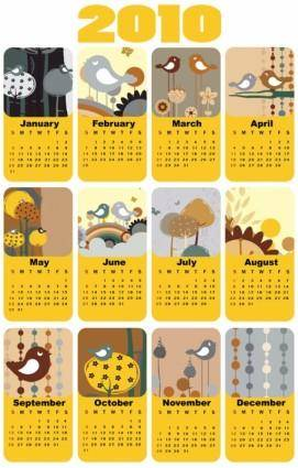 Cute bird theme 2010 calendar template vector