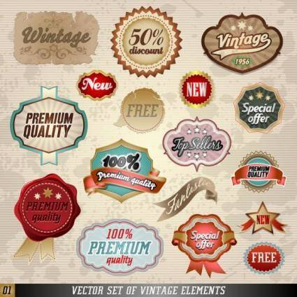 free vector Classic label stickers 01 vector