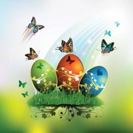 Butterflies and decorated easter egg cards 01 vector