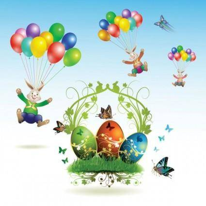 free vector Easter cards and decorations butterfly eggs 03 vector