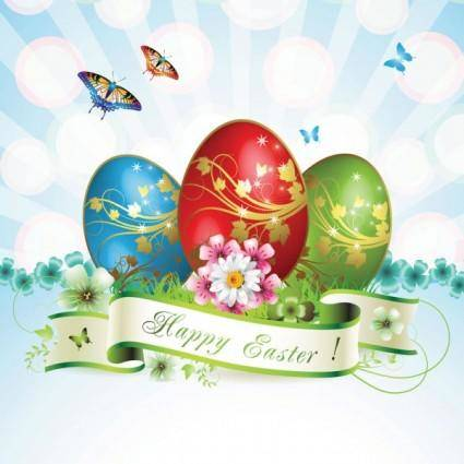 free vector Easter cards and decorations butterfly eggs 05 vector