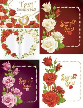 free vector Romantic roses greeting cards vector