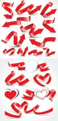 free vector A variety of festive ribbon ribbons vector