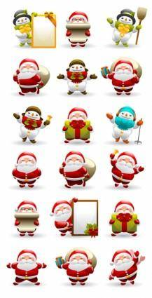 free vector Cute santa claus and snowman vector
