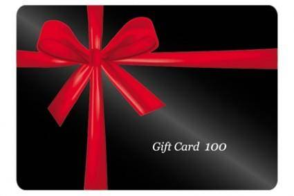 free vector Red ribbon wrapped around a black gift card vector