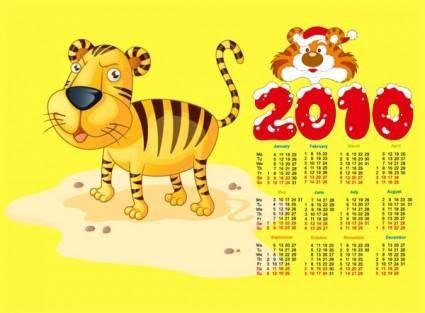 free vector 2010 calendar with cute tiger vector
