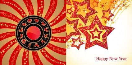 free vector 12 new year zodiac wheel star theme vector