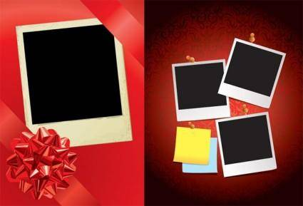 free vector Red ribbon and the polaroid photo vector