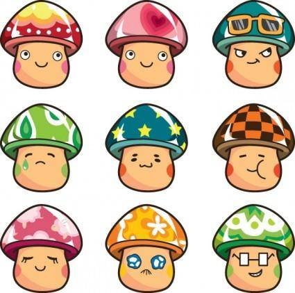 free vector Expression vector cute mushrooms