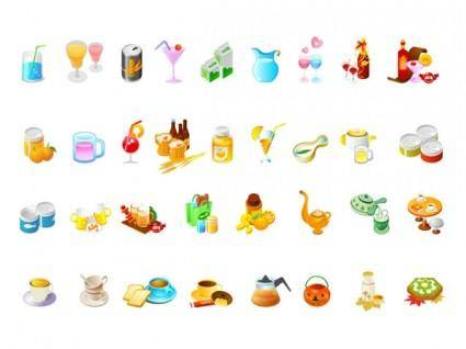 Drinks and refreshments small set of vector