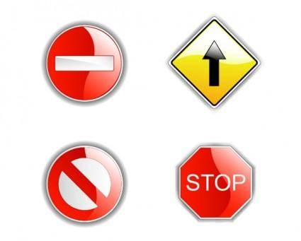 4 traffic signs vector
