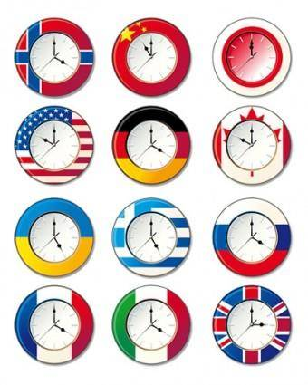 free vector Vector clocks in different countries