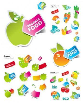 Fruits and vegetables vector cute stickers