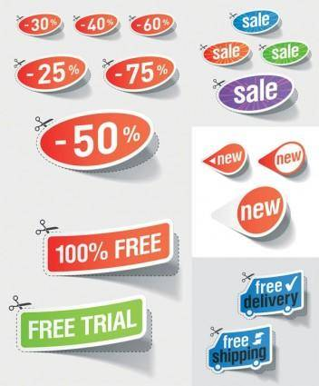 free vector Beautiful vector stickers discount sales