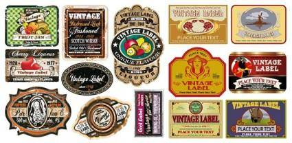 free vector European nostalgia label vector