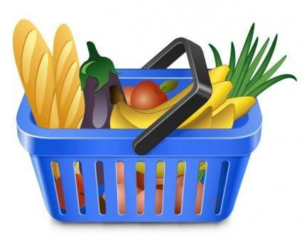 Fruits and vegetables and shopping basket 05 vector