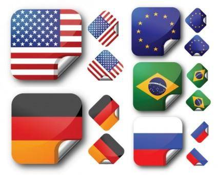 free vector Several national flags stickers vector