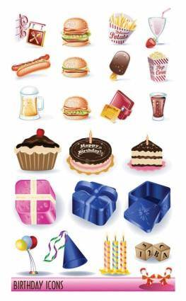 free vector Birthday vector goods and fast food