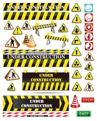 free vector Road warning signs vector