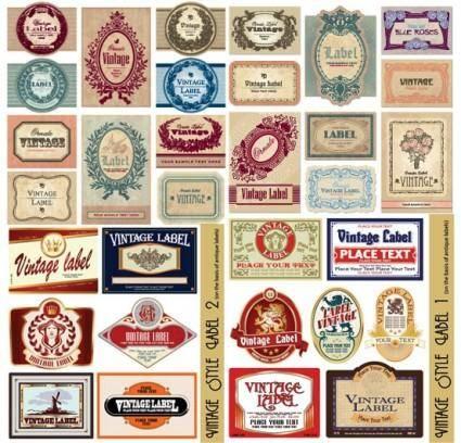 free vector European retro label vector
