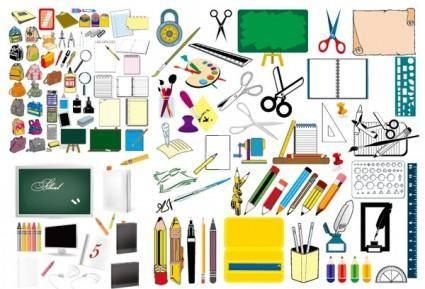 free vector School supplies vector