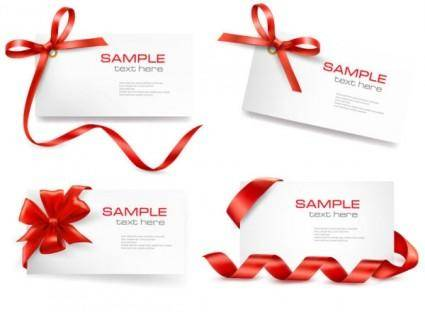 free vector Red ribbon card 01 vector