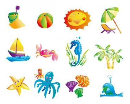 free vector Sunny beach element vector