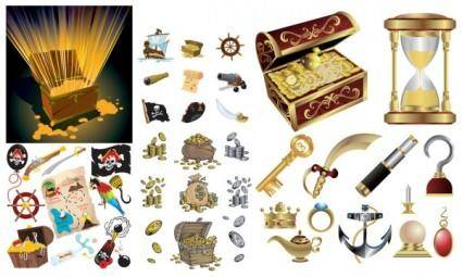 free vector Pirate treasure series vector