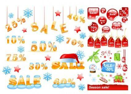 Vector winter discount sales chart