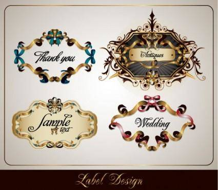 free vector Ribbon vector 3 theme label