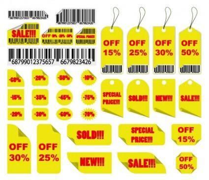 free vector Yellow sales tag vector