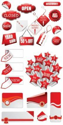 free vector Discount supermarkets with labels vector