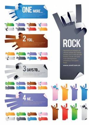 5 kinds of gestures shaped paper paper vector