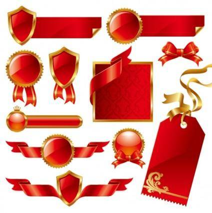 Red ribbon theme vector
