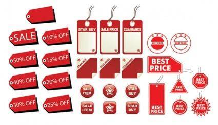 free vector A variety of decorative red label graphics vector 2