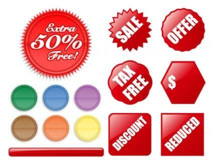 Decorative buttons of various shapes and label vector