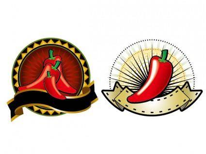 free vector 2 red peppers theme decorations vector