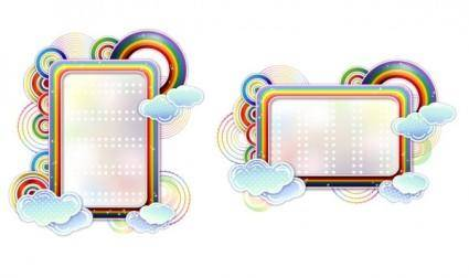 free vector Rainbow clouds cute vector border
