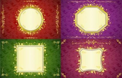 free vector Gorgeous gold lace border vector 6