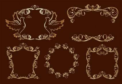 European gorgeous fine golden lace vector