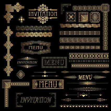 Vector gold ornate classical lace 1