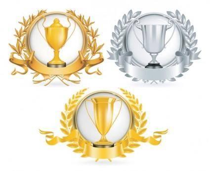 free vector Yellow gold trophy vector