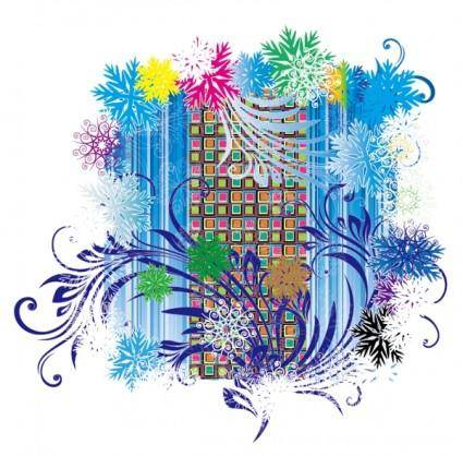 free vector Colorful snowflakes vector