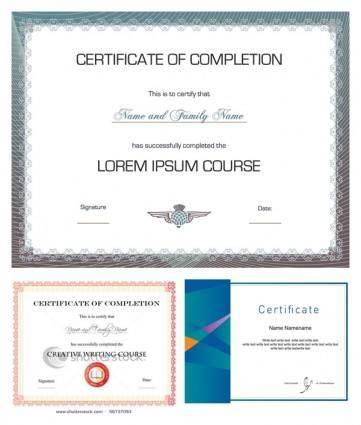 free vector Three vector design certificate