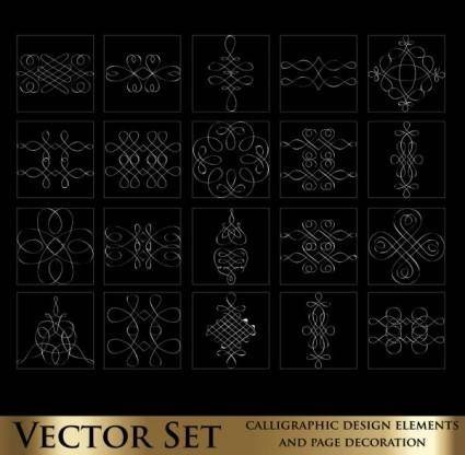 Decorative elements line draft 02 vector